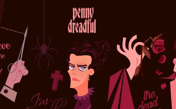 composición de personajes cartoon serie Penny Dreadful